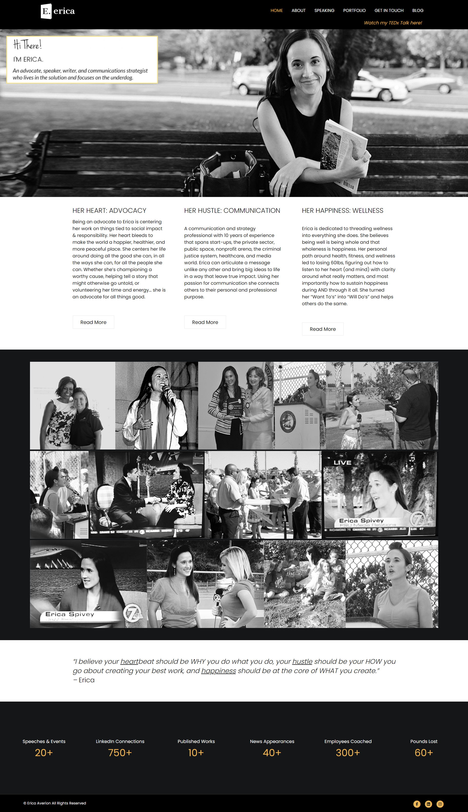 Erica Averion website. Designed and Developed by Punch Up Digital.